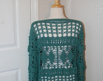 Woman's Crochet Cardigan in Deep Green Cotton Size Large X-large