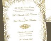 PRINTABLE Elegant Grunge Wedding Invitation and RSVP- Digital diy Wedding Files - I set text, YOU print