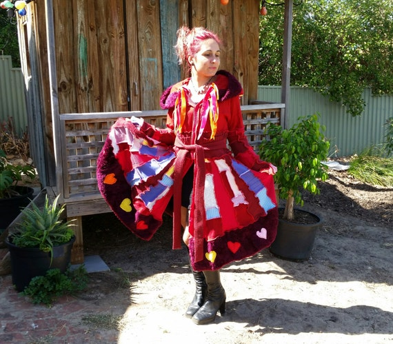 SALE....My HEaRtS ChAKRa... elf coat....earth friendly,patchwork,pixie hood, upcycled RED sweater coat ...