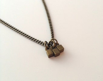 Brass and Square Charm Necklace