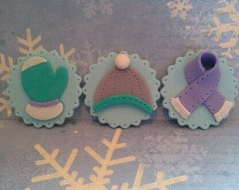 Winter Hat, Scarf and Mittens Edible Cupcake Toppers - Set of 12