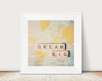 dream big photograph inspirational art map photograph mustard wall art dream big print wanderlust art nursery wall art