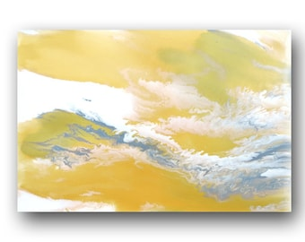 Painting on Canvas, Abstract Painting, Pour Painting, Original Painting, Metallic Gold Painting, Elegant Fine Art, 36x24 Heather Day #1
