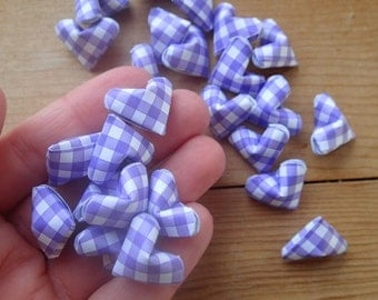 Purple Gingham Origami Hearts, set of 24.  Valentine's Day Gift.