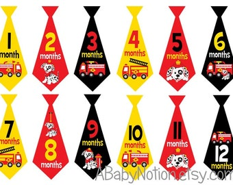 Fireman firefighter baby monthly tie decal iron on or sticker baby shower gift