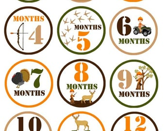 Hunting - 016 - Hunting baby boy monthly decals