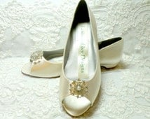 Satin Wedding Shoes Bridal Wedge Open Toe With Crystals