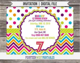 ON SALE! Bright Colorful Birthday Invitation (Printable Digital File)