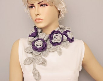 Crochet flower lariat scarf  , flower scarf ,woman scarf, gift