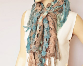 Fringed crochet scarf , long scarf ,woman scarf,gift,colorful scarf ,