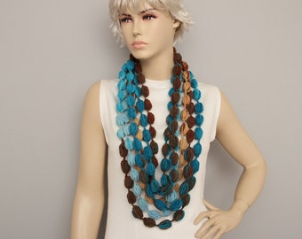 Bubble infinity chain crochet scarf multicolor
