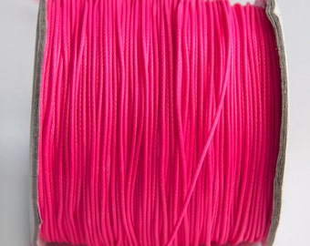 Neon Pink Korean Wax Cord, Neon Pink Waxed Polyester Cords 1mm Stringing Macrame S 40 114