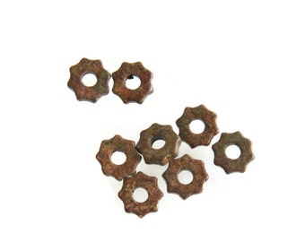 15% OFF Greek Ceramic Gear Beads, Brown Green Tiny Gear Beads 7mm- 30pcs C 10 328