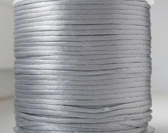 2 mm Silver satin rattail cord, Macrame cord, beading cord, Kumihimo Knotting 5m - 5.5 yards S 40 120
