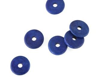 20pcs Blue Round Ceramic Beads, Blue Ceramic Discs, Blue ceramic spacers C 10 394