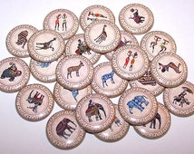 "African Tribal Art Set of 10 Buttons 1"" or 1.5"" Pin Backs or 1"" Magnets Africa Buttons"