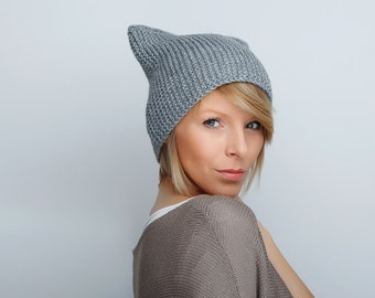 Hat  Cat  Ear Hat Hand Knit Cat Hat Knit Hat Womens Hat Accsories Winter Hat