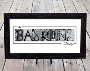 Last Name Print in Alphabet Photography Black and White Name Print  (Unframed)