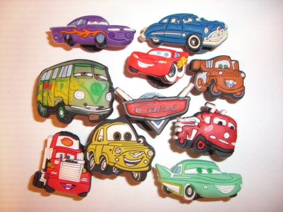 10 Disney Cars Button Shoe Charms For Jibbitz By ElementsOfArt