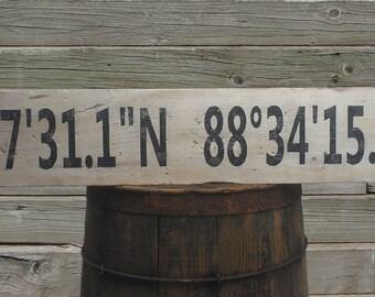Personalized Latitude Longitude Wood Sign - Hand Made Custom Rustic Wooden Decor
