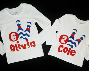 Boy or girl toddler, personalized name, initial or birthday number bowling SHIRT royal blue chevron pins, red ball applique - birthday shirt
