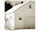 White Barn Photo, winter photo, Barn in snow, Barn Print, monotone, farmhouse chic, rustic decor, home decor,  barn in the snow, home decor
