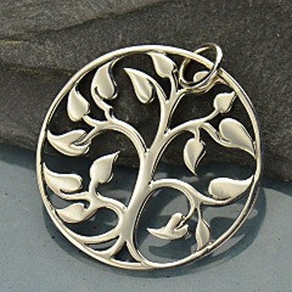 Large Silver Plated Bronze Tree of Life Pendant - Mom, Baby, New Mom Gift, Charm
