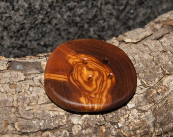 Olive wood button, Hand made button, Decorative button