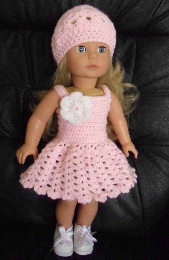 Crochet Dress Up Doll Pattern : PDF Crochet pattern for summer dress and hat for 18 inch