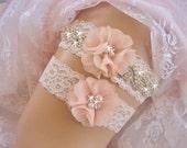 Vintage Bridal Garter Set,  Wedding Garter Set, Bridal Garter Set,  Lace Garter Set, Toss Garter included Ivory with Rhinestones and Pearls