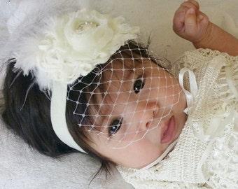 Vintage Baby Baptism Headband .. Wedding Headband . Christening Headband .. Birdcage Veil .. Shabby Roses Pearls