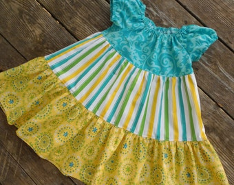 Girl's Toddlers Green Yellow and Teal 3 Tiered Peasant Dress