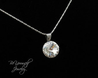 White Crystal Bridal Necklace Wedding Jewelry Swarovski Crystal Bride Necklace Rivoli Bridesmaid Gift Wedding Necklace Bridal Accessories