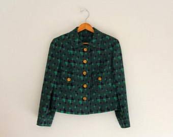 1960s Career Jacket Pixelated Blazer Boxy Green Blue Gold Buttons Wear to Work Womens Vintage Medium