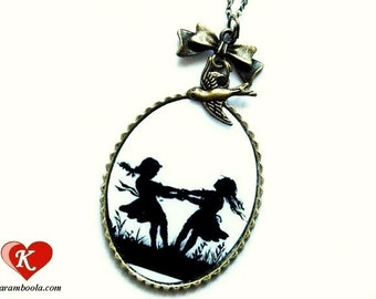 Dancing Sisters Silhouette Necklace bronzecolored - grandmother fairy tale girl dance twin little sister best friend mother daughter gift