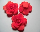 10 Large Fimo Polymer Clay RED Flower Rose Fimo Beads 50mm