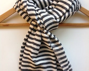 Classic Black and White Nautical Cotton striped scarf for Men and women- handwoven Ethiopian scarf/ cotton