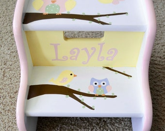 Owl and Birds Step Stool, Children's Step Stool
