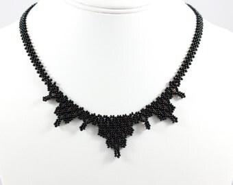Black Bib Necklace - Seed Bead Jewelry - Beadwork Necklace - Beaded Necklace - Bridesmaid Gift - Wedding Jewelry