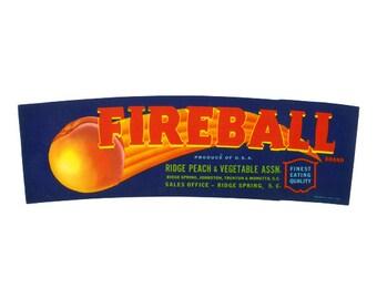 Fireball Brand South Carolina Peach Crate label