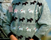 PDF Knitting Pattern for a Childs Westie & Scottie Dog Motif Sweater      - Instant Download