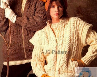 PDF Knitting Pattern For Ladies Aran Jacket with  Matching Body Warmer - Instant Download