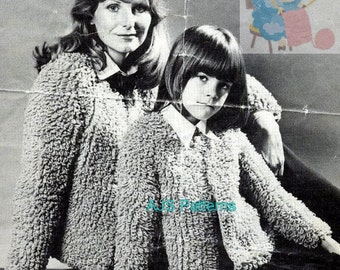 PDF Knitting Pattern for a Ladies & Child's Loop or Loopy Stitch Jacket - Instant Download