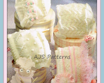 PDF Knitting Pattern for Babies and Toddlers Bonnets - Instant Download