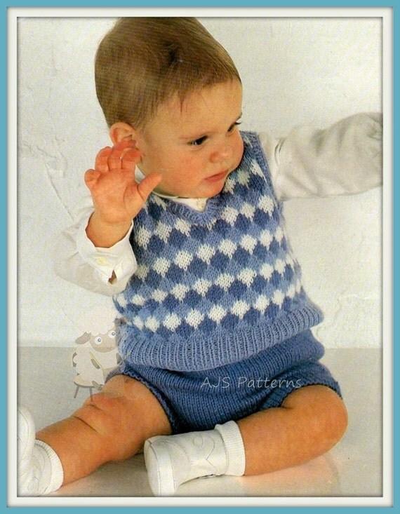 Knitting Pattern Sleeveless Pullover : PDF Knitting Pattern Sleeveless Sweater & Shorts Set to fit