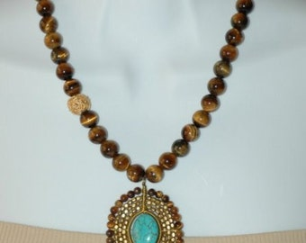 SALE - Bib Necklace, Semi Precious Necklace, Tiger Eye and Turquoise Necklace Pendant, Gift for her, Short necklace, Brown and turquoise