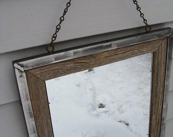 SOLD Small Industrial Rustic Primitive Barnwood Mirror no.1503