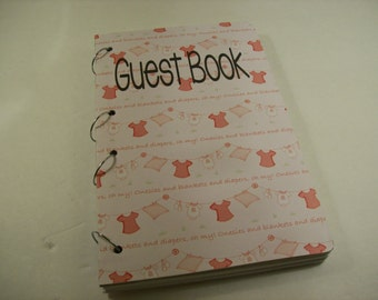 Baby Shower Guest Book Sign in Book New Mom Advice Book Baby Girl Nana's Nursery Pink
