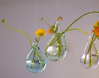 Hand Blown Glass Vases Set of 3 / Hanging Vase / Choose your Color / Flower Vase / Wall Decor