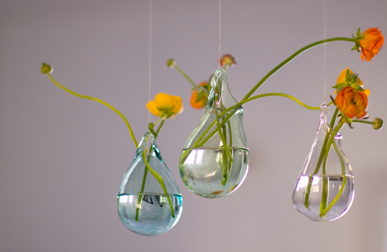 Hand Blown Glass Vases Set Of 3 Hanging Vase Choose Your